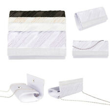 Diamante Pleated Crystal Evening Clutch Wedding Party Prom Purse Satin Handbag