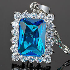 Lady Fashion Jewelry Nr Green Emerald Cut Fine Clear Topaz  Pendant Necklace