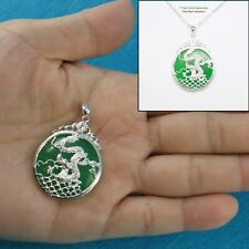 Solid Sterling Silver 925 Dragon Carving On 27mm Green Jade Cabochon Pendant TPJ