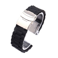 Mens Silicone Watch Strap Military Band Waterproof Deployment Clasp 20/22/24mm