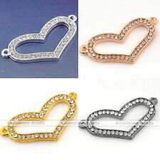 Curved Side Ways Crystal Hollow Heart Bracelet Connector Finding Bead Charm DIY