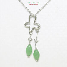 Solid Sterling Silver 925 Crafted Green Jade & Cubic Zirconia Pendant