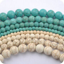 Lots 4/6/8/10MM Howlite White/Blue Turquoise Gemstone Round Loose Jewelry Beads