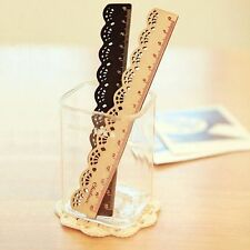New Vintage Cute Lovely Lace Stationery Wood Ruler School Office Sewing Tools H