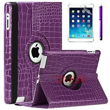 For Apple iPad 2 3 4 mini Air Crocodile Premium PU Leather Smart Case Purple