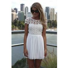 Women Floral Lace Chiffon Short Sleeve Round Collar Empire Waist Mini Dress V551