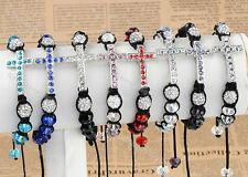 1PC Woven Faceted Crystal Cool Disco Ball Cross Beads Hip Hop Macrame Bracelet