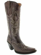 Womens Studded Tall Brown Leather Western Cowgirl Cowboy Boots Riding Rodeo