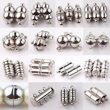 New 10Pcs Silver Plated Cylinder Round Ball Strong Magnetic Clasps Hook Findings