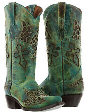 Womens Turquoise Wings Cross Western Cowboy Cowgirl Leather Boots Rodeo Riding