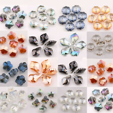Lots Clear AB Faceted Flower Leaves Glass Crystal Glossy Beads Jewelry Findings