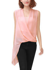 Women Drape Front V Neck Irregular Hem Chiffon Blouse w Tube Top