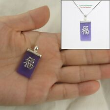 "Solid Sterling Silver 925 ""Fu"" Good Fortune on Prolate Lavender Jade Pendant"