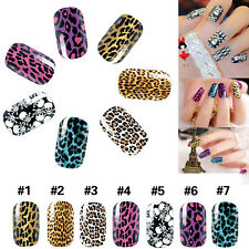 Women Sexy Leopard Skull Nail Art Tips Transfer Nail Sticker Tip Manicure