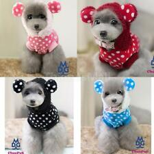 Pet Dog Puppy Flannel Dots Coat Clothes Jacket Hoodie Apparel w/ Ears Size S/M/L