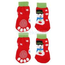 Christmas Snowman Dog Puppy Cat Non-slip Socks Paws Covers Shoes Slippers S--XL