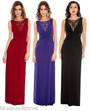 Long Maxi Evening Dress with Crochet Lace Neck-Waist Insert Prom-Ball-Party