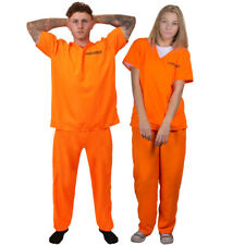 UNISEX ORANGE PRISONER COSTUME MENS WOMENS HALLOWEEN FANCY DRESS STAG OUTFIT