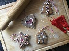 Gisela Graham Christmas Gingerbread Tree Decorations Star Tree House Heart 8cm