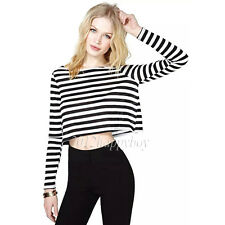 Sexy Women Long Sleeve Crop Top T shirt Clubwear Blouse Casual Striped LooseTops