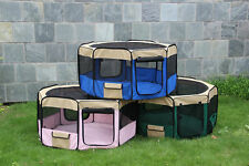 50'' Soft Pet Playpen Exercise Puppy Play Pen Dog Fence Cat Kennel Folding Crate