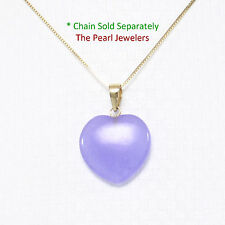 14k Solid Yellow Gold Hand Crafted Heart & Love 15mm Lavender Jade Pendant