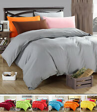 Solid Single/Double/Queen/King Super King Sizes Bed Quilt/Doona/Duvet Cover Set