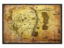 New Gloss Black Framed The Hobbit Map of Middle Earth Poster