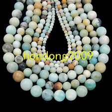 "4/6/8/10/12mm Natural  Colorful Amazonite  Round Loose Beads 15"" Choose size"