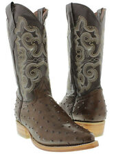 Mens brown ostrich western cowboy leather exotic rodeo boots new