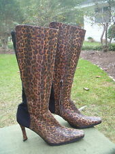 DF DressFlex Womens Knee Boots 7.5 M Cheetah Leopard Print Leather w Black