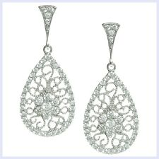 925 Sterling Silver Teardrop Filigree Flower Clear CZ Chandelier Earring Stud