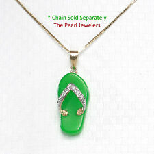 14k Solid Yellow Gold Diamond Set with Flip-Flop Slipper of Green Jade Pendant
