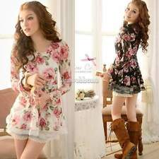 Women Long Sleeve Rose Flower Shirts Blouses Prints Lace Casual Tops SH New