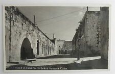 Vintage Real Photo Post Card of A Street in Cabana Fortress in Havana, CUBA