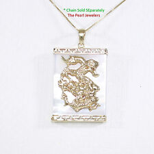 14k Solid Yellow Gold Hand Crafted Dragon  White Mother of Pearl Pendant TPJ