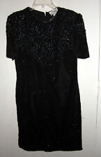 JMD New York Black Sequined Beaded Silk Dress M Sexy Knee Length EUC