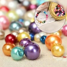 100Pcs Mixed Colors Round Glass Pearl Beads For Necklace Jewelry Findings Making