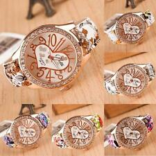 Love Gift Girl Watch Heart Pattern Flower Leather Band Quartz Analog Wrist Watch