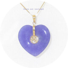 14k Yellow Solid Gold Joy Design on 25mm Love & Heart Lavender Jade Pendant 1.3""
