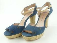 FORNARINA Shoes High Heels Peep-Toes Gypsy Denim Blue Raffia Rivets New