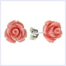 Sterling Silver Simulated Pink Coral Rose Earring Stud Post 10mm