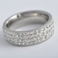 fashion Men&Women Stainless Steel 3-Row CZ Band Ring jewelry ,size6 7 8 9
