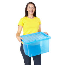 Pack Of 15 Plastic Storage Box 24 Litre Container With Lid Home Use 3 Colours