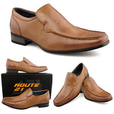 Mens New Tan Leather Lined Slip On Shoes Smart Suit Office  6 7 8 9 10 11 12