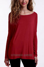 BURGUNDY BAMBOO PIKO TOP Off the Shoulder Loose Shirt Tunic Long Sleeve S M L
