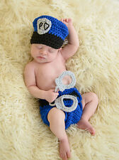 Baby Boys Girls Sheriff Police Crochet Knitted Hat + Handcuffs + Diaper Shorts