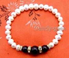"SALE Beautiful 6-7mm white Natural Pearl and black Round Agate 7.5"" bracelet-285"