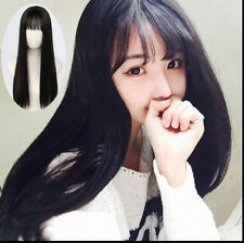Womens Long Straight Hair Synthetic Full Wigs with Bangs Cosplay wig Anime Wig