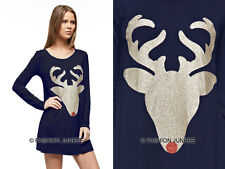 NAVY BLUE 32 RED NOSE REINDEER DEER DRESS Glitter Tunic Top Christmas Xmas S M L